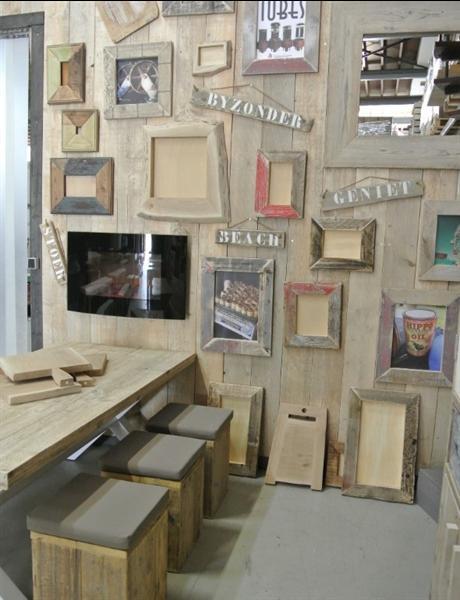 Sloophout fotolijst eikenhout handgemaakt teakhout